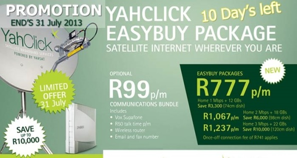A promotion by one of the many VSAT providers in South Africa offering cheap VSAT service