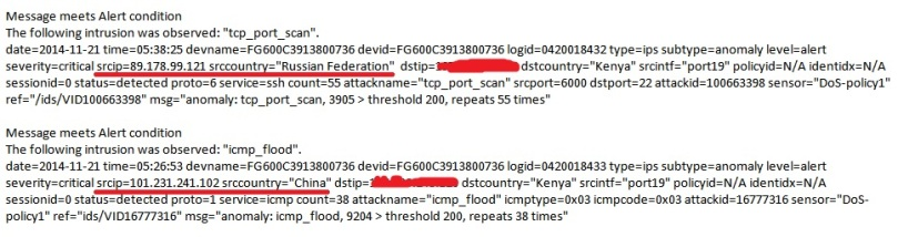 A screenshot of an email from a  NextGen firewall detailing attempted attacks on the network