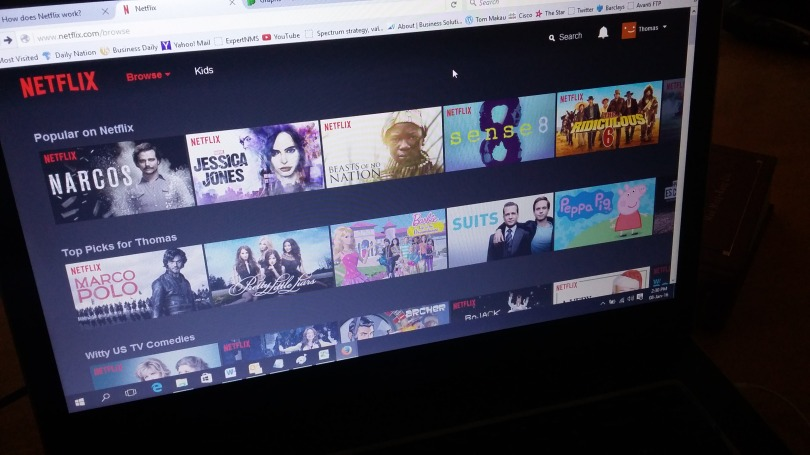 The Netflix main screen opened on the Firefox browser